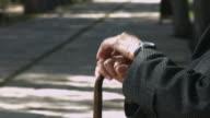Wrinkled hands holding walking cane video