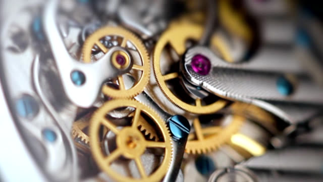 Wristwatch mechanism close up video