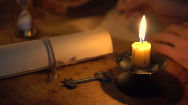 writing letter in candlelight video