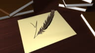 Writing 'Yes' with a quill pen video