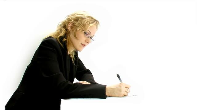 Writting businesswoman on white background video