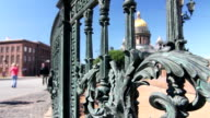Wrought iron lattice and St. Isaac Cathedral, Saint-Petersburg, Russia video