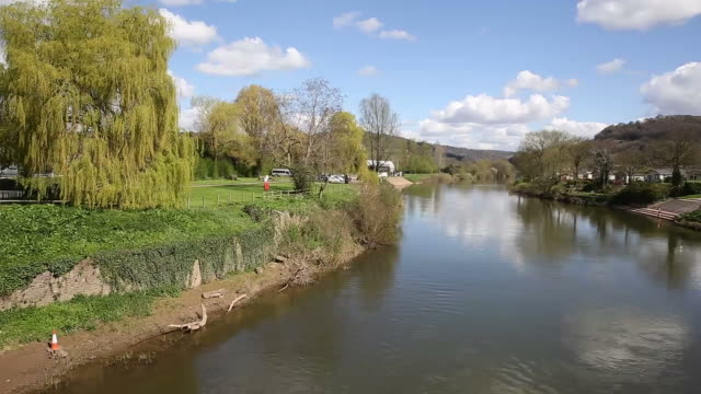 Wye valley River Wye Monmouth Wales UK pan video