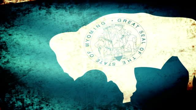 Wyoming State Flag Waving, grunge look video