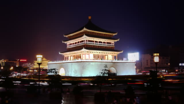 Xi'an ancient Chinese tower surrounded by traffic video