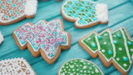 Xmas cookies in the shape of a heart, mitten. Confectionery sprinkle video