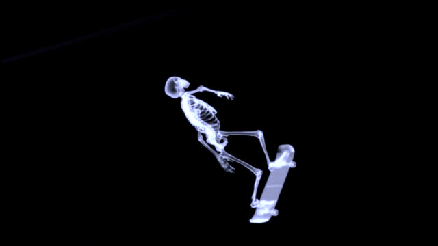 Xray of human skeleton jumping freestyle in halfpipe video