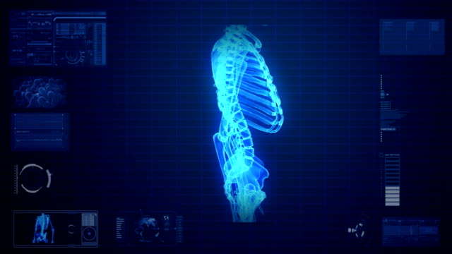 X-ray scan of human skeleton video