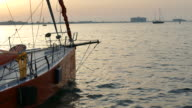 yacht marina at sunset video