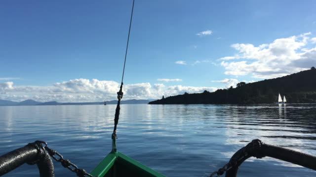 Yacht sail boats sailing over Lake Taupo New Zealand video