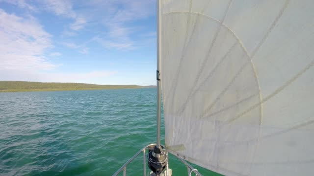 Yacht Sailing in Tropical Waters Off Queensland Australia video