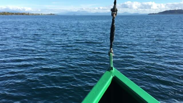 Yacht sailing over Lake Taupo New Zealand video