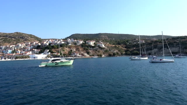 Yachts Anchored at Port of Pythagorio in Samos Island video