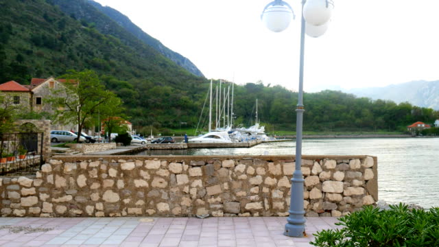 Yachts, boats, ships in the Bay of Kotor, Adriatic Sea, Monteneg video