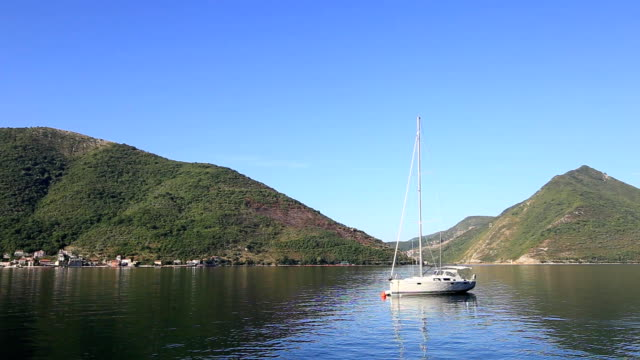Yachts, boats, ships in the Bay of Kotor, Adriatic Sea, Montenegro video