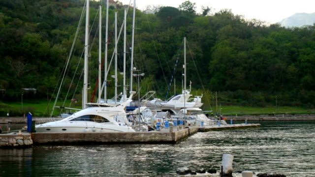 Yachts, boats, ships in the Bay of Kotor, Adriatic Sea video