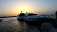 Yachts in sunset video