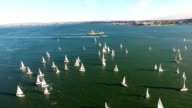 Yachts in the Regatta River view from above video