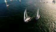 Yachts on water aerial view from above video