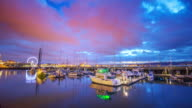 yachts,water and colorful sky. timelapse video