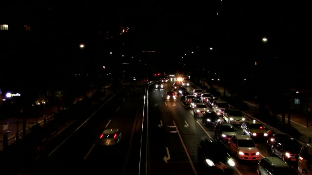 Yamate ave. night at Tomigaya crossing wide shot high angle time lapse video