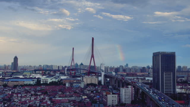 Yangpu Bridge Elevated and Rainbow Time lapse (Zoom in) video