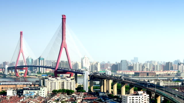 Yangpu Bridge Elevated Traffic From Day To Night video