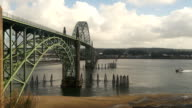 Yaquina Bay Shellfish Preserve Newport Bridge Oregon River Mouth video