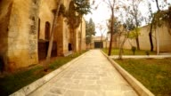 Yard with Fluwer-beds of Old Catholic Church Transformed in Theatre Urfa video