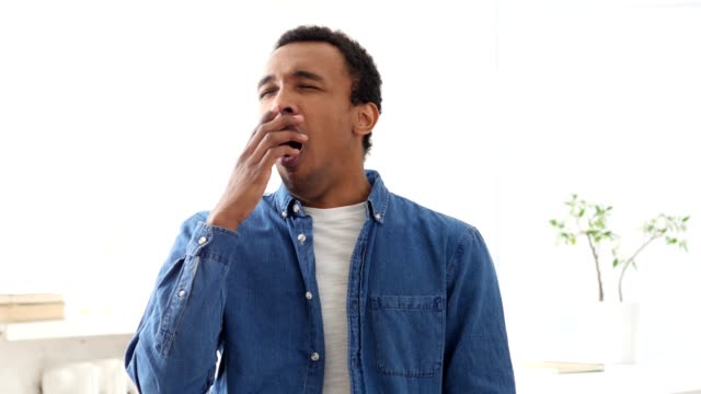 Yawning Afro-American Man, Portrait video