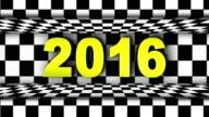 2016 Year Text in Checker Door, Open / Close, Loop video