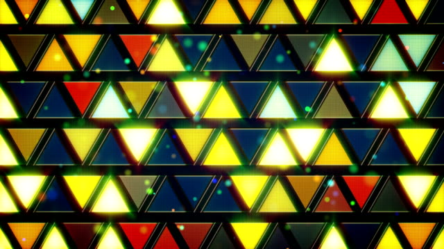 yellow blue flashing triangles loop video