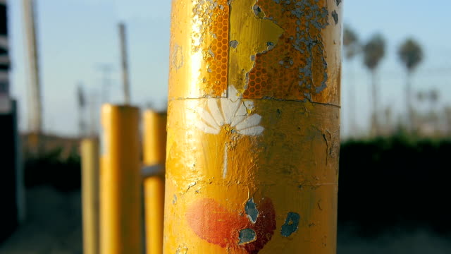 Yellow Bollard With Graffiti Los Angeles video