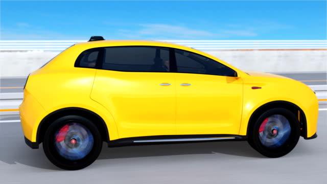 Yellow electric SUV driving on arc bridge video