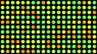 Yellow, Green and Orange Multicoloured Circles Music Video Background - Grid of Dots with Random Generative Effect on Black Background video