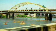 Yellow kayak boat racing on the river video
