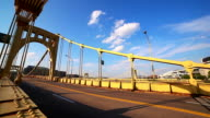 Yellow metal bridge. Urban background video