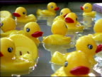 Yellow Rubber Duckies Floating by in Water 3 video