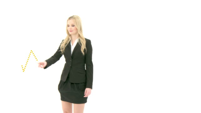 Yellow sales statistic prensented by business woman video