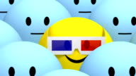 yellow smiley with 3d glasses at cimena video