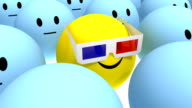 yellow smiley with anaglyph 3d glasses at cinema video