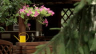 Yellow watering can on wooden summer house banister video