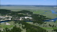 Yellowstone River By Mud Volcano  - Aerial View - Wyoming,  Park County,  helicopter filming,  aerial video,  cineflex,  establishing shot,  United States video