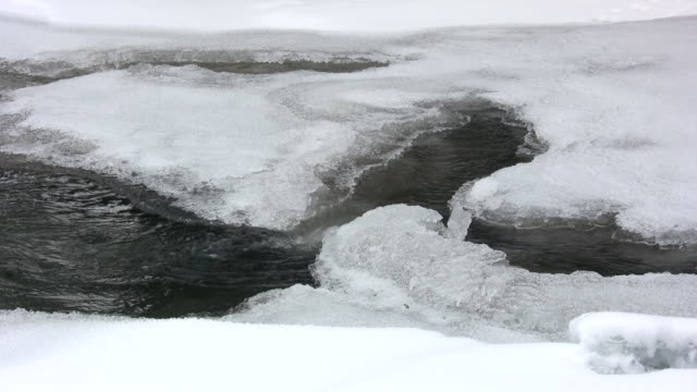 Yellowstone river with ice in it video