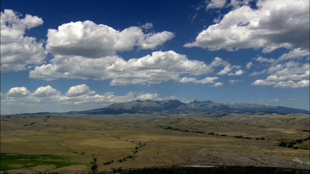 Yellowstone River With Mountains On Either Side  - Aerial View - Montana, Sweet Grass County, United States video