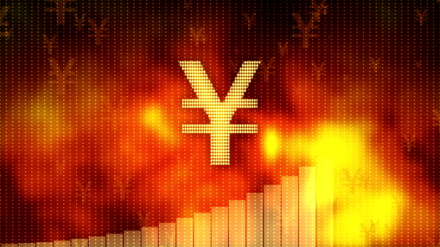 Yen rising on red background, currency gains value, financial crisis averted video