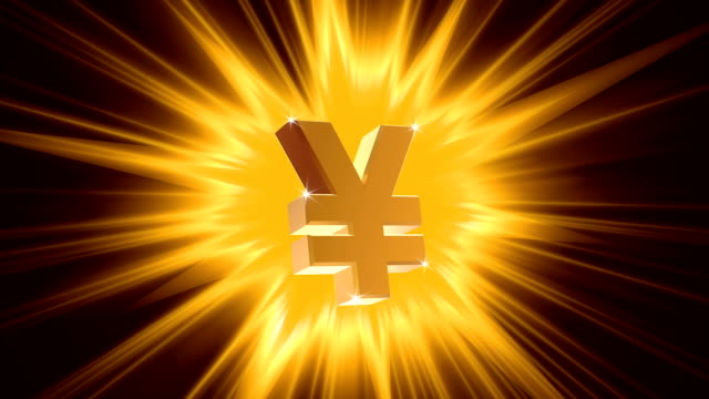 Yen sign on radiant light background, success, large income, jackpot winner video