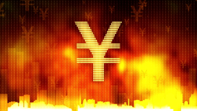 Yen sign pulsing on fiery background, money rules the world, greed, obsession video