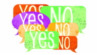 Yes and NO argue on handpainted speech bubbles video