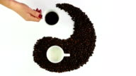 Yin and yang symbol made of coffee video